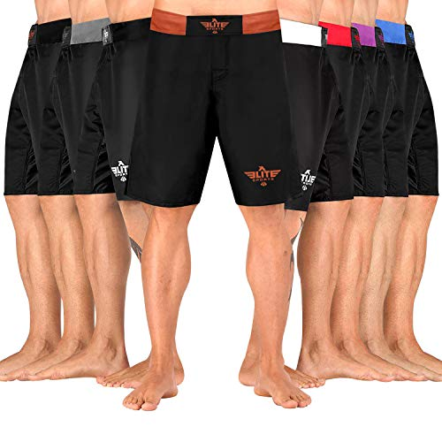 Elite Sports Men's MMA Fight Shorts, Black Jack UFC, BJJ, No Gi, Grappling, Jiu Jitsu Shorts (Brown, XX-Large)