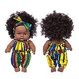 Poupée Africaine Curly 8 Pouces - Poupée Noire Afro-américaine Réalistes Bébé Poupées Poupée Poupon Réaliste Bébé Reborn Jouets pour Enfants (C)