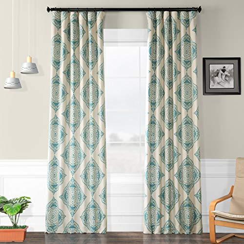 HPD Half Price Drapes BOCH-KC27A-84 Blackout Room Darkening Curtain (1 Panel), 50 X 84, Henna Teal