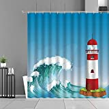 XCBN Cortinas de Ducha de Gran Ola, patrón de Olas del mar, Paisaje, Cortina de baño Impermeable, decoración de baño, Pantalla, partición de bañera A3 150x180cm