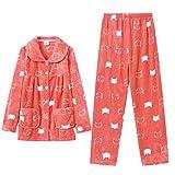 Pijama Largo de Franela cálida y acogedora para Mujer, Pijama de Invierno cálido para salón, 2 Piezas, Ropa de Dormir para Mujer Mujer1 XL