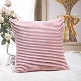 Home Brilliant Throw Pillows for Bedroom Stripe Plush Velvet Corduroy Decoration Throw Euro Pillow Sham Cushion Cover for Sofa Wedding, 26 x 26 inch (66cm), Baby Pink