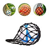 ZONSUSE Sac en Filet pour Ballon de Football, Rugby, Basket-Ball ou Volley-Ball Nylon Idéal pour Transporter Votre Ballon Taille Unique Noir (Negro)