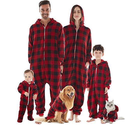 HORSE SECRET Pijama Hombre Mujer, Pijama en Tejido Franela Polar Suave y cómodo para Toda la Familia, excelente para Invierno, Rojo Cuadros - Hombre, 2XL (183 - 188cm)