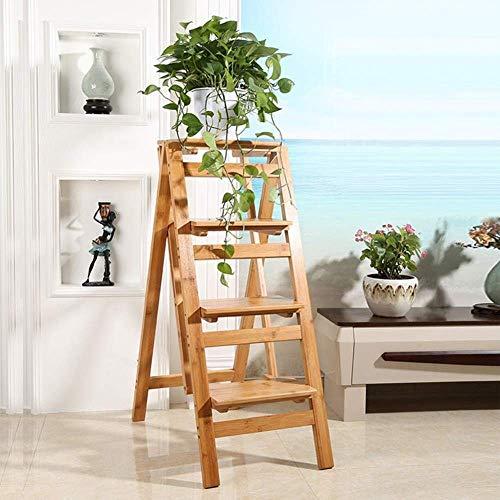 GOG Taburete, escalera plegable Taburetes Escaleras Soporte de flores de interior de doble uso Estante para zapatos de 4 capas Escaleras de bambú