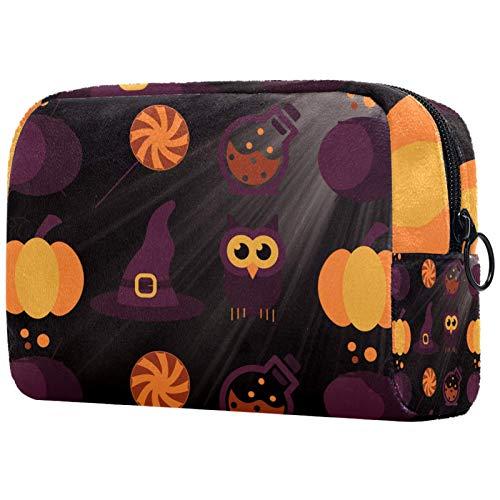 Bolsa de cosméticos Bolsa de Maquillaje para Mujer para Viajar Llevar cosméticos Cambiar Llaves, etc.,Halcón de la Noche de Halloween