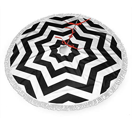 TNIJWMG Black and White Chevron Brushed Polyester Christmas Tree Skirt 30 Inch Rustic Tree Xmas Ornaments Printed Holiday Party Decorations Indoor Outdoor Accessory Gift