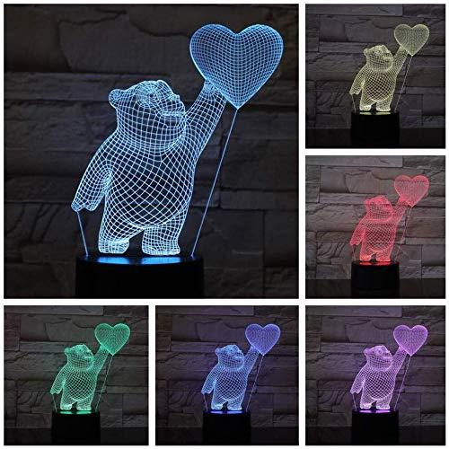 3D Illusion Love Heart Ballon Ours Lampe LED avec capteur tactile 7 couleurs Enfants enfant cadeaux d'anniversaire USB lampe de chevet Décor lumière de nuit