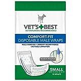 Vet's Best Comfort Fit Disposable Male Dog Diapers | Envolturas masculinas absorbentes con ajuste a prueba de fugas | Pequeño 12Pk
