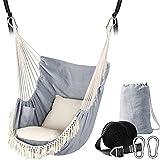 Chihee Hängesessel Hängende Schaukel 2 Sitzkissen enthalten,Starke Gurtbänder und Haken Einfach hängen Hängesessel aus weichem Baumwollgewebe Seitentasche Groß Quaste Stuhlset Komfort drinnen draußen