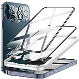 LK Compatible con iPhone 12 Pro MAX 6.7 Pulgada Protector de Pantalla,2 Pack Cristal Templado y 2 Pack Protector de Lente de cámara, Doble protección, Kit de Instalación Incluido
