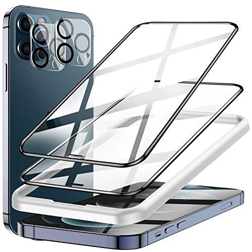 LK Panzerglas Kompatibel mit iPhone 12 Pro Schutzfolie, mit Rahmen, 6.1 Zoll, 2 Panzerfolie und 2 Kamera Folie, 9H Härte Schutzglas,3D Volle Abdeckung Displayschutz, Kratzen, Blasenfrei, Full Screen