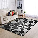 IOVEQG Alfombra de ajedrez, acogedora decoración del hogar, para dormitorio, cuarto de bebé, color blanco, 50 x 80 cm