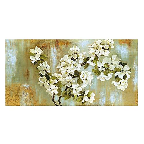 NOBRAND Arte de la Pared Cuadro en Lienzo Florecimiento Almendro Flor Impresionista Paisaje Pintura Carteles e Impresiones para Sala de Estar 60x120cm (23.6x47.2 Pulgadas) Sin Marco