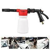 Powstro Pistola de espuma para limpieza de coche, multifunción, pistola espumosa, jabón de agua, champú, 900 ml, para furgoneta, motocicleta, vehículo (rojo)