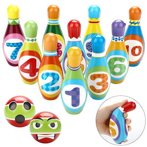 Fansport 12PCS Bolos de Juguete,Bolos para niños Interiores y Exteriores Juguetes Regalos para Niños 3+ Años(10 Alfileres y 2 Bolas)