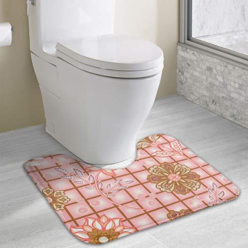Tuin Bloemen Op Raam Controleer Geheugen Schuim Toilet Bad Mat U-Shaped,Zachte En Comfortabele Toilet Mat, Badkamer Mat, Wasbaar 19x16 Inch