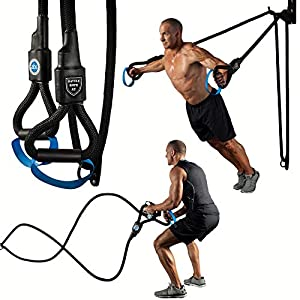 Battle Rope ST – Ultimate 2-in-1 Battle Rope and Strength Training System, Unique 6 Pound Weighted Handles, Dual Function Mounting System, Space Saving Design, 1.5″ Nylon Braided Rope