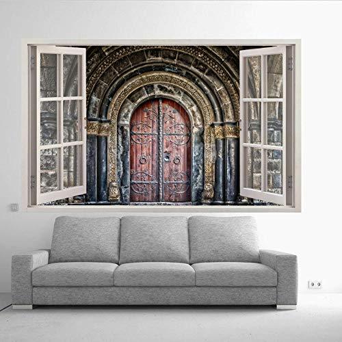 Nicoole Etiqueta De La Pared Vieja Puerta Antigua Portal Pegatinas De Pared Arte 3D Mural Sala Oficina Tienda