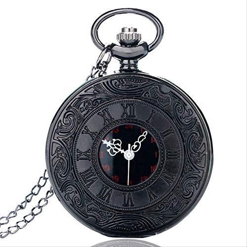 Caja De Regalo Collar Hueco del Reloj De Bolsillo De Bolsillo WatchAntique Estilo Números Romanos Hombres Mujeres Negro Vintage Cuarzo