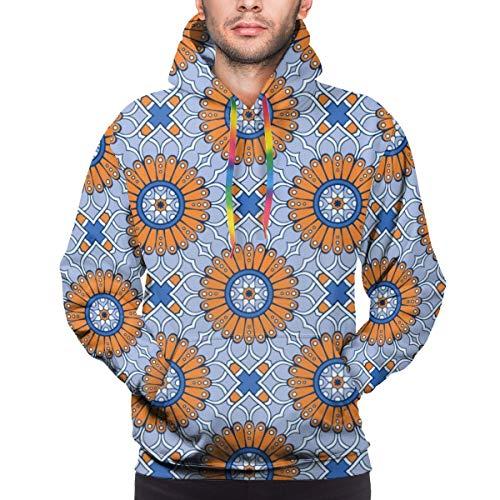 sanlianwangluokeji Custom Mens Hoodie Sweatshirt Pullover Ethnic Floral Seamless Pattern