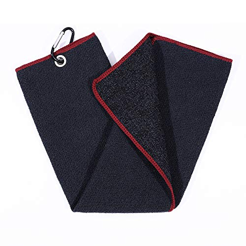 Mile High Life | Tri-fold Microfiber Golf Towel | Innovative Dual Side Design w/Dirt Scrub Side and Soft Cleaning Side | Light Weight | Excellent Water Absorbance | Please Watch Video (Black/Red)
