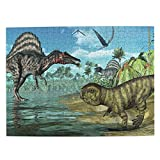 Lidanie 500 Pieces Art Picture Wooden Jigsaw Puzzle Prehistoric Scene with Spinosaurus and Psittacosaurus Jigsaw Puzzles for Adults Teens Funny Family Game Hanging Home Decoration