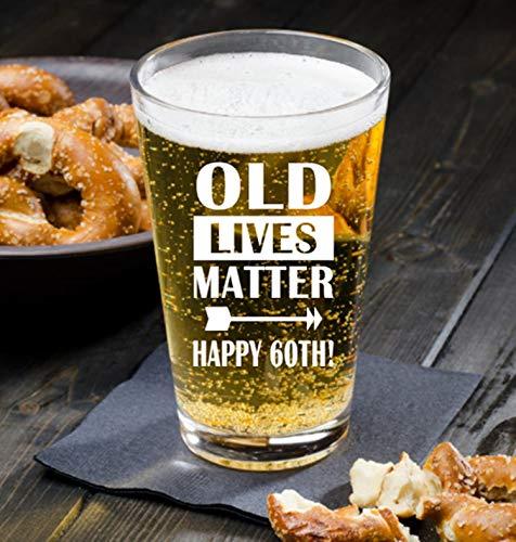 Regalo de 60 cumpleaños para hombres, regalo de 60 cumpleaños, Old Lives Matter, vaso de whisky de 60 cumpleaños, torneado 60, vaso de fiesta de cumpleaños 60