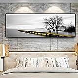 LTGBQNM Calma Lago Superficie Larga Puente Escena Árbol Blanco y Negro Pinturas Pinturas Póster Imprimir Muro Arte Imágenes Sala de Estar Decoración de la casa 16x48inchx1 No Frame