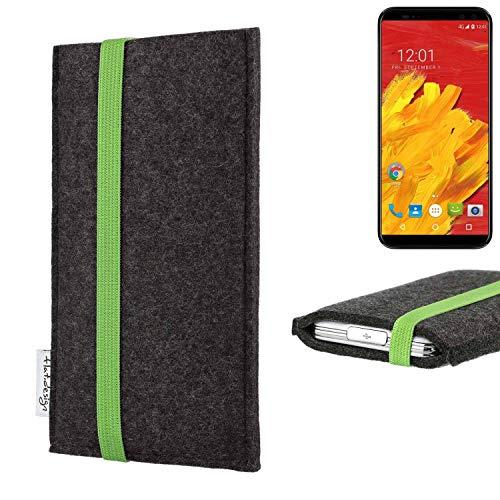 Flat.design Vegan Telefoonhoes COIMBRA Voor M-Horse Pure 3 - Beschermhoes Zakvilt Gemaakt In Duitsland Donkergrijs