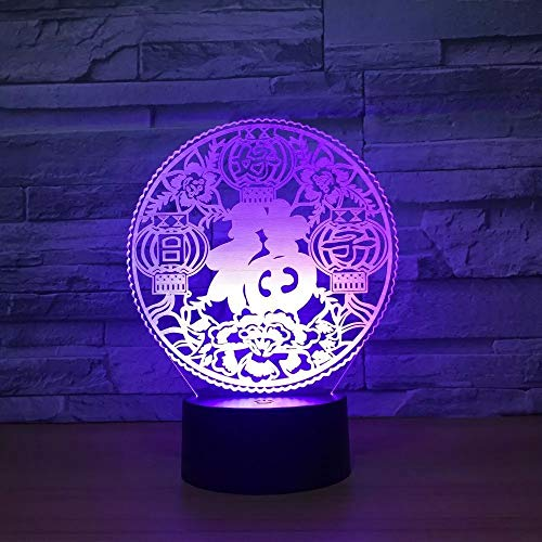 Fu 3D luz de noche auspicioso LED multicolor USB luz decoración de fiesta de cumpleaños lámpara de mesa luz de noche regalo de vacaciones decoración lámpara de mesa
