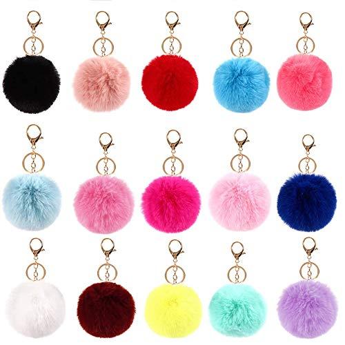 Pulluo 15pcs Pompom Schlüsselanhänger Plüsch Bommel Schlüsselanhänger Plüsch Ball Anhänger für Handtasche Rucksäcke Frauen Mädchen Geschenk Dekor(15 Farben)
