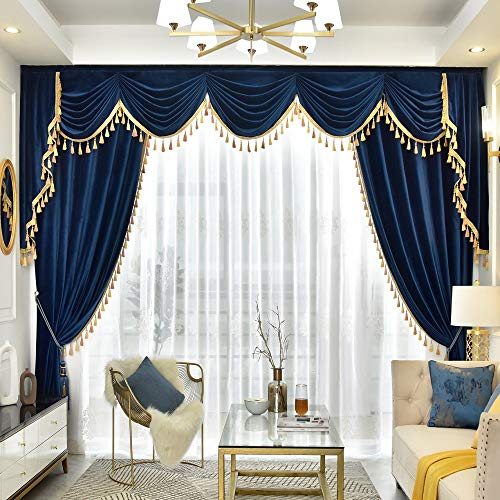 Queen's House Luxury Tassel Window Curtains with Valance for Living Room Custom Size-F