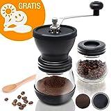 Amazy manuelle Kaffeemühle inkl. Extra-Behälter + 16 Schablonen + Bambuslöffel – Handbetriebene...