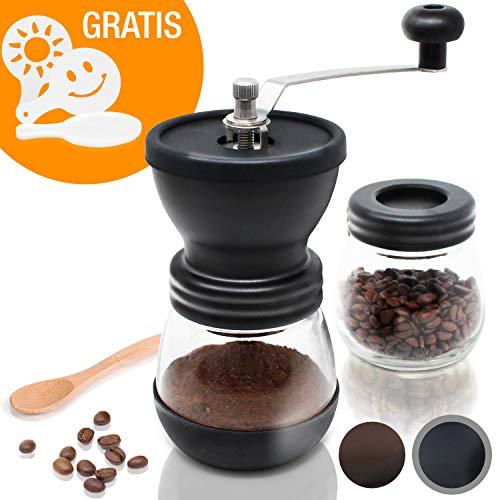 Amazy manuelle Kaffeemühle inkl. Extra-Behälter + 16 Schablonen + Bambuslöffel – Handbetriebene Mühle mit Keramikmahlwerk für feinsten, frischgemahlenen Kaffee (Schwarz)