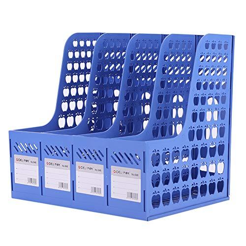 4 compartimentos, caja de almacenaje de escritorio, revistero, plástico, módulo de clasificación, cestas, estantería, almacenamiento, soporte para libros, revistas, A4, papel y organizador