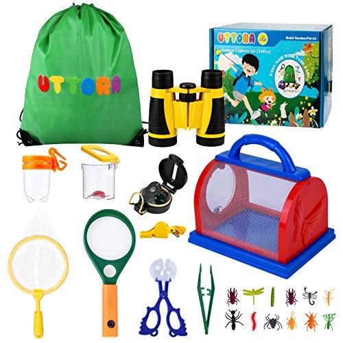 UTTORA Juego de exploración al aire libre, kit de exploración al aire libre, regalos juguetes para niños, binoculares para niños y niñas, kit educativo para niños al aire libre