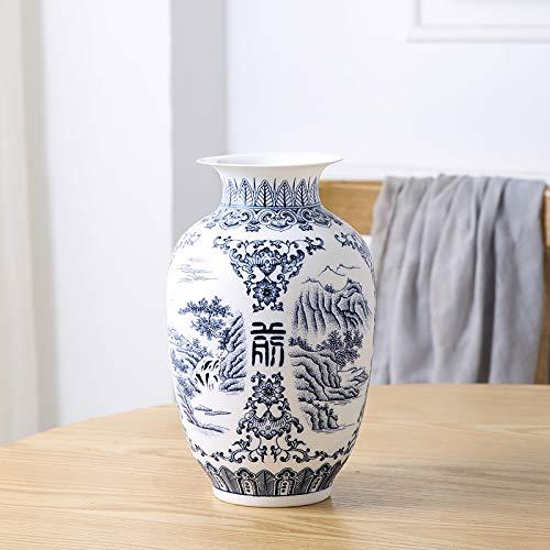 ZYG222 Keramische vaas retro oud landschap dom blauw wit porselein bloem arrangement kleine droge vaas porselein