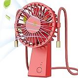 Baozun Ventilatore Portatile Neckband Fan Piccolo Mini Ventilatore da Tavolo Ventilatore USB Ventilatore da Collo con Rotazione a 90 ° Ventilatore da Viaggio Esterno Batteria Ricaricabile-Rosso