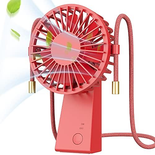 Ventilador USB,Baozun Mini Ventiladores de cuello de Mano Portátil con Cuerda para Colgar Puede Girar 90 Grados 3 Velocidades Eléctrico Ventilador Recargable para Oficina,Hogar,Aire Libre Viajes(Rojo)