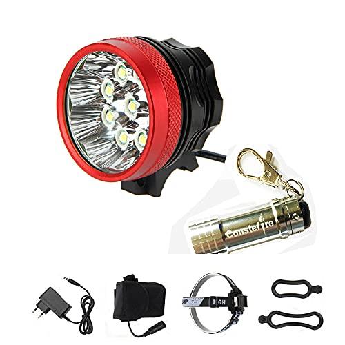 Constefire LED LUZ Linterna LáMPARA Torch Cree 7X LED de Bicicleta/Bici lámpara Luz LED Frontal luz de la Bicicleta Bicicletas (7 led, 3 Modos) con 6x16850 batería y Cargador