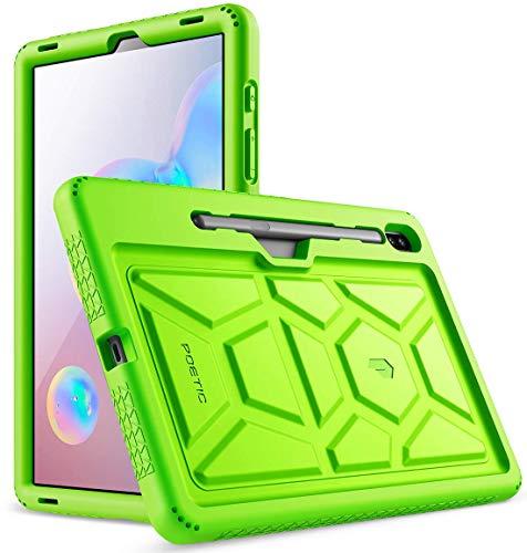 POETIC Galaxy Tab S6 Hülle, Heavy Duty Schütz Silikon Hülle mit Klangverstärkend Feature,TurtleSkin Reihe, Hülle für Samsung Galaxy Tab S6 (SM-T860/SM-T865) 2019, Grün
