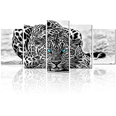 Black and White Animal Canvas Wall Art,Abstract Leopard Canvas Prints with Frame,Attractive Leopard Picture Decorative,Easy Hanging On,More Size Optional (16 (10 x16 x2+10 x20 x2+10 x24 x1)