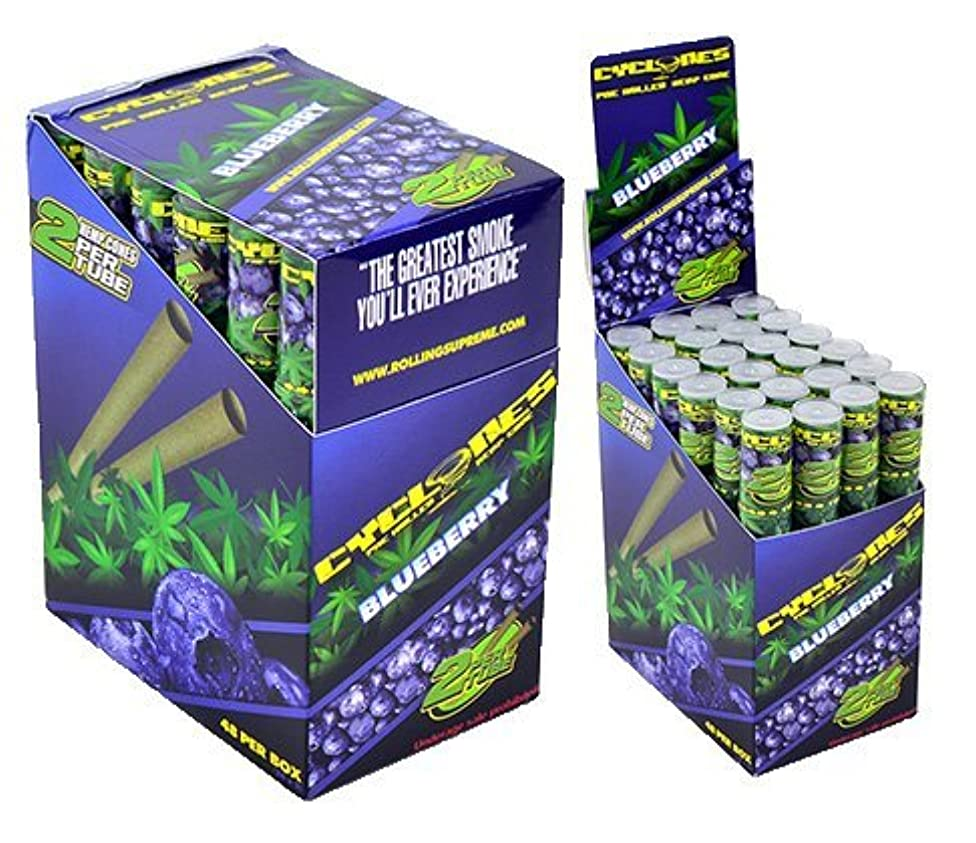 Cyclones Blueberry Flavored Pre-Rolled Hemp Wraps (Full Box, 48 Wraps) with Black ES Odorless Bag