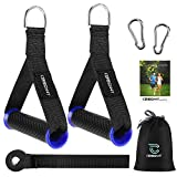 Cerbonny Resistance Band Handles Grips Fitness Strap Wide Design Heavy Duty Cable Handles with Solid ABS Cores, Durable Carabiners with Heavy Gauge Welded D-Rings (1 Pair)