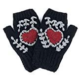 Red Heart Black Knit Fingerless Gloves Embroidered 100% Alpaca Fleece Lined Arm Warmers Handmade Texting Driving