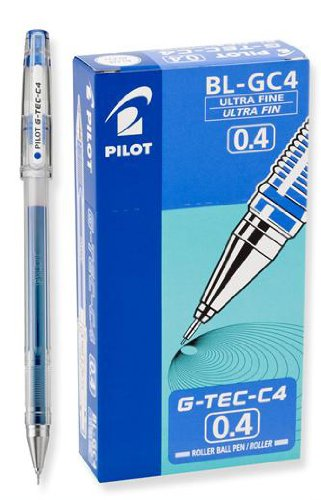 Pilot G-Tec-C PGTC4-BLU - Bolígrafo de gel (0,4 mm, 12 unidades), color azul