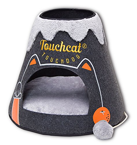 TOUCHCAT 'Molten Lava' Triangular Frashion Designer Pet Kitty Cat Bed House Lounge Lounger w/ Hanging Teaser Toy, Large, Black and Grey