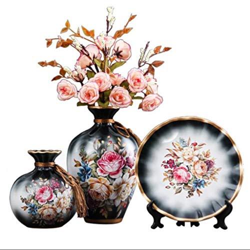 Alta oriental Florero de cerámica Jarrón de porcelana de la vendimia, florero decorativo plato salón arreglo floral Europeo de mini tienda de té de cerámica del hogar del arte retro estilo chino
