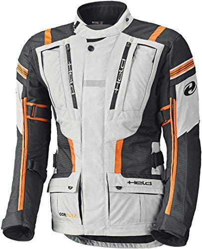Held Motorradjacke mit Protektoren Motorrad Jacke Hakuna II Adventurejacke grau/orange L, Herren, Enduro/Reiseenduro, Ganzjährig, Textil